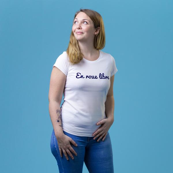 t shirt solidaire et français femme - En roue libre