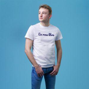 t shirt original homme en roue libre porte