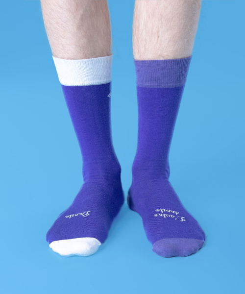 chaussettes droles bicolore face