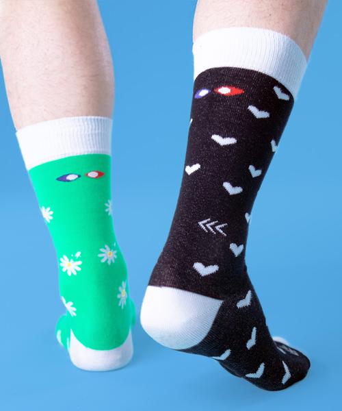 chaussettes droles paquerettes dos
