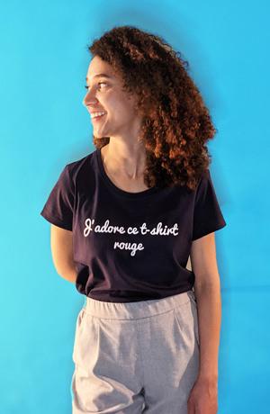tee shirt confectionné en france femme bleu marine j adore