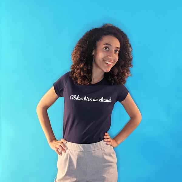 tee shirt français femme bleu marine abdos