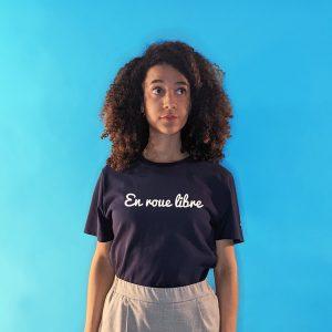 tee shirt français femme bleu marine en roue libre