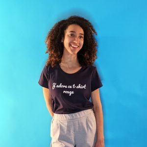 tee shirt français femme bleu marine j adore