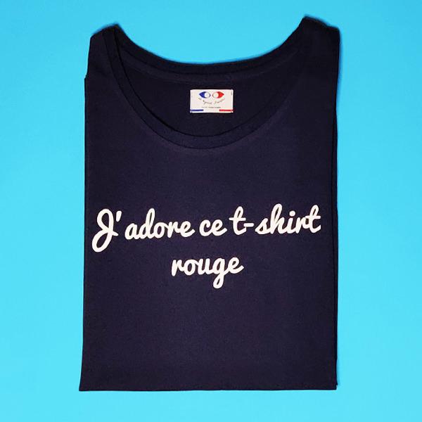 tee shirt français femme bleu marine j adore packshot