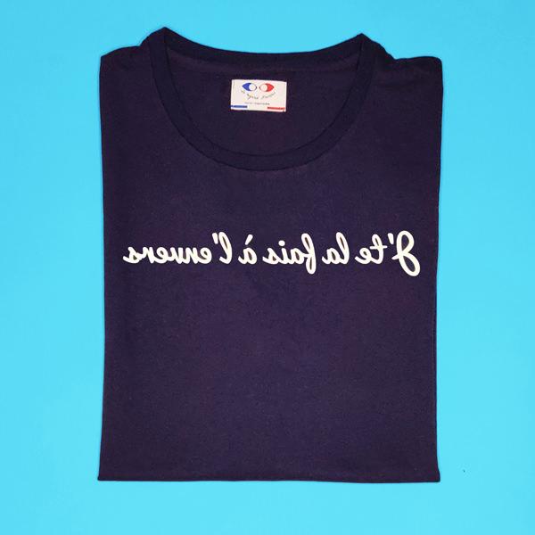 tee shirt français femme bleu marine j te l a fais packshot
