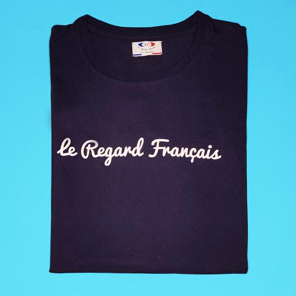 tee shirt français femme bleu marine le regard francais packshot