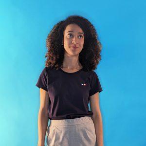 tee shirt français femme bleu marine logo