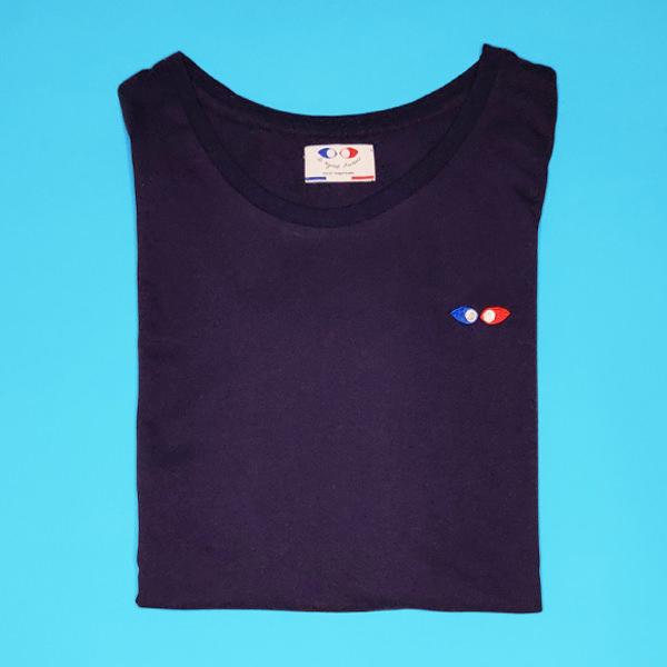 tee shirt français femme bleu marine logo packshot