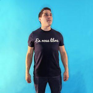 tee shirt français homme bleu marine en roue libre