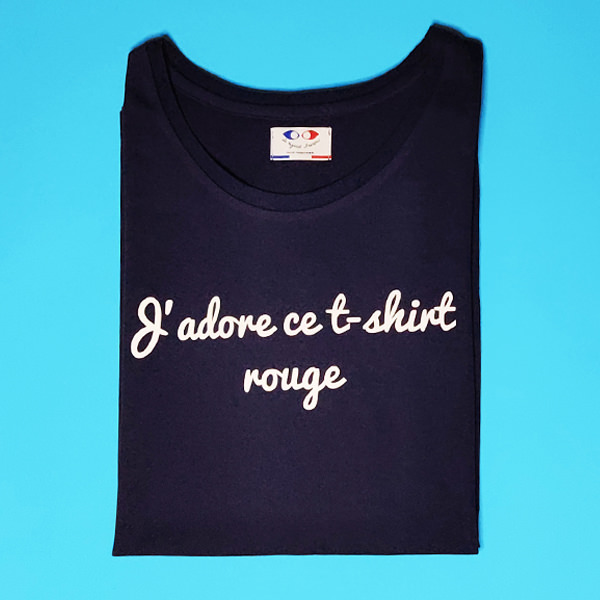 tee shirt français homme bleu marine j adore packshot