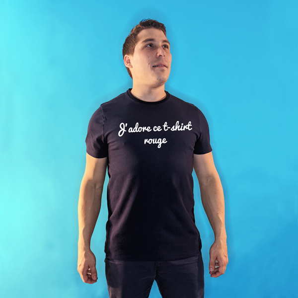 tee shirt français homme bleu marine j adore