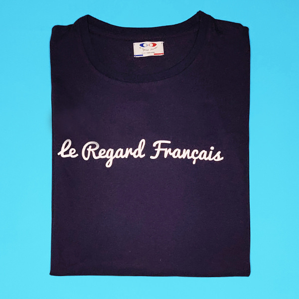 tee shirt français homme bleu marine le regard francais packshot