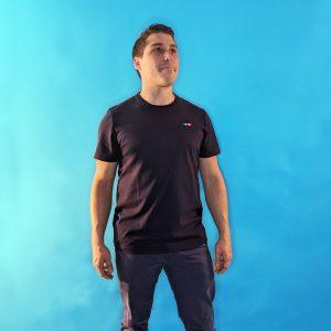 tee shirt français homme bleu marine logo