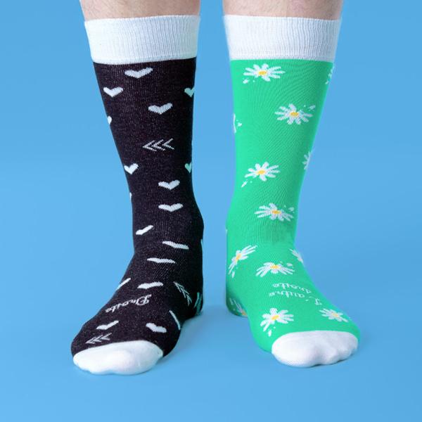 chaussettes dépareillées françaises la paquerette portée
